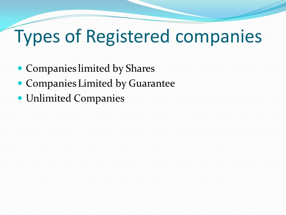 Types of Registered companies