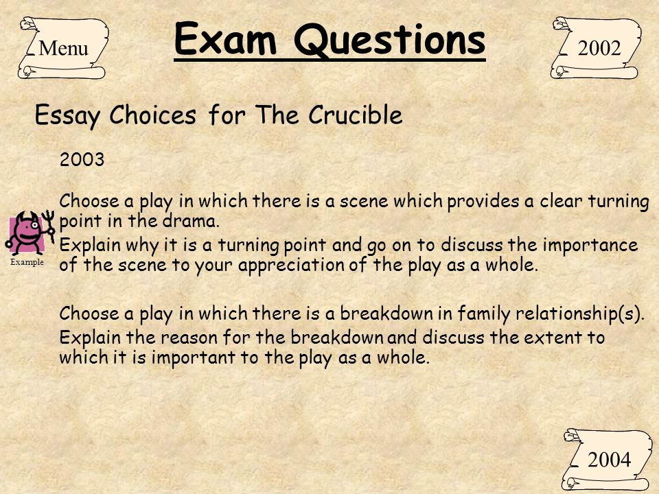 crucible essay question Great selection of the crucible essay topics for high school and college students excellent resource of essay topics for academic writing assignments.