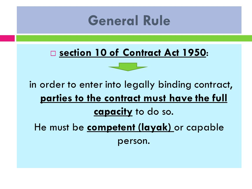 capacity to contract of contract act 1950