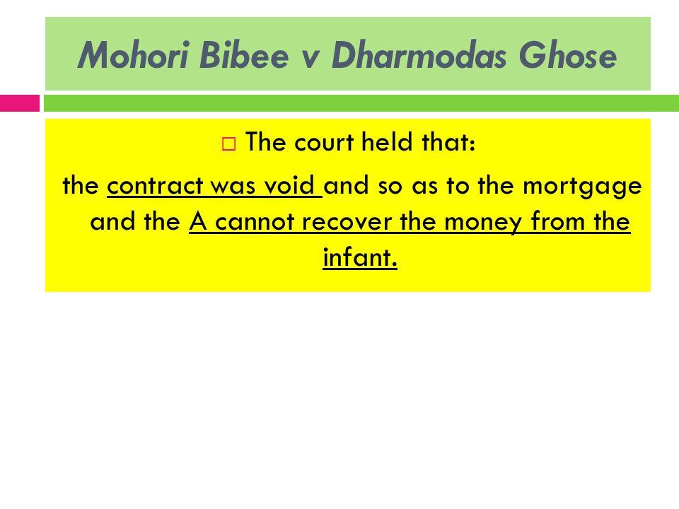 mohori bibee v dhurmodas ghose Ecovery of property transferred to a minor y mohori bibee v dhurmodas ghose (1903)  documents similar to contract 1_contract by minors skip carousel.