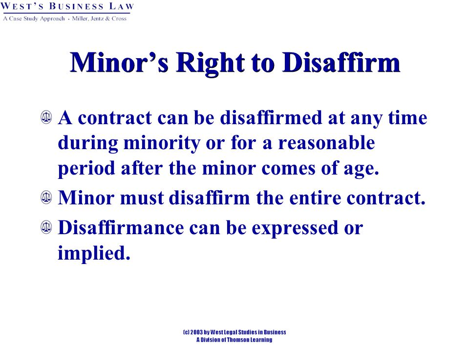 Minor's Right to Disaffirm
