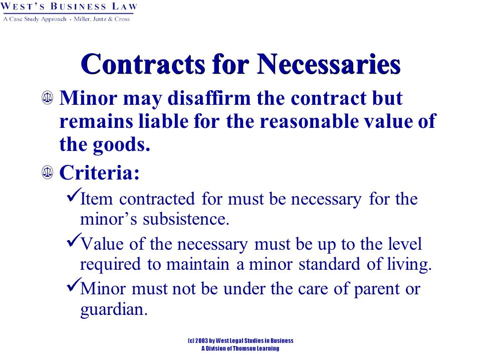 Contracts for Necessaries