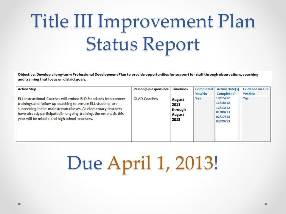 Title III Improvement Plan Status Report