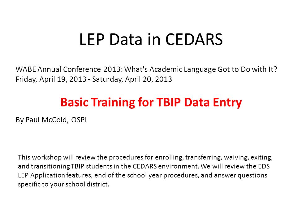 Basic Training for TBIP Data Entry