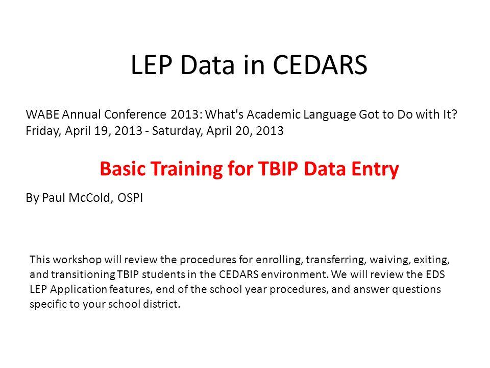 Basic Training for TBIP Data Entry