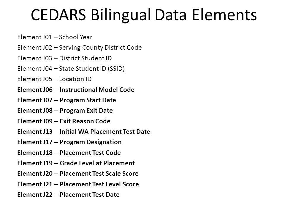 CEDARS Bilingual Data Elements
