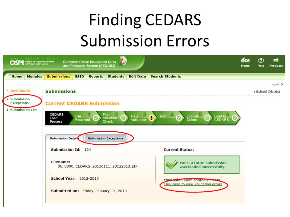 Finding CEDARS Submission Errors