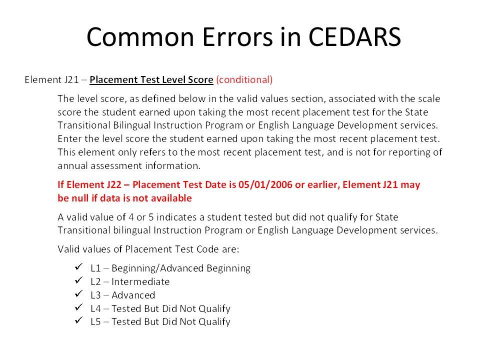 Common Errors in CEDARS