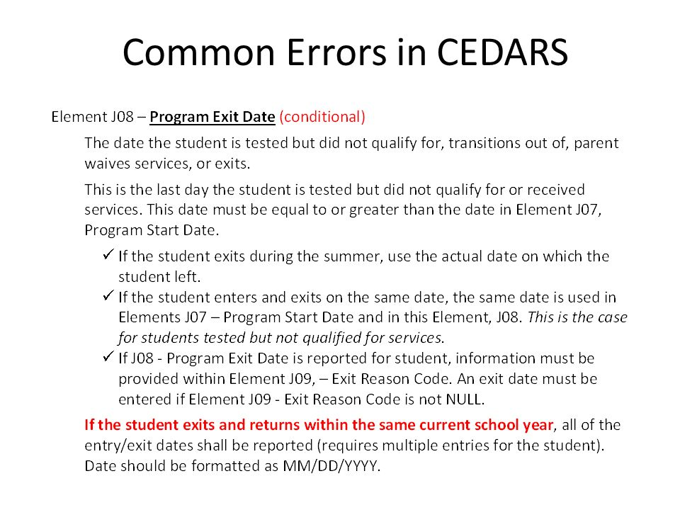 Common Errors in CEDARS