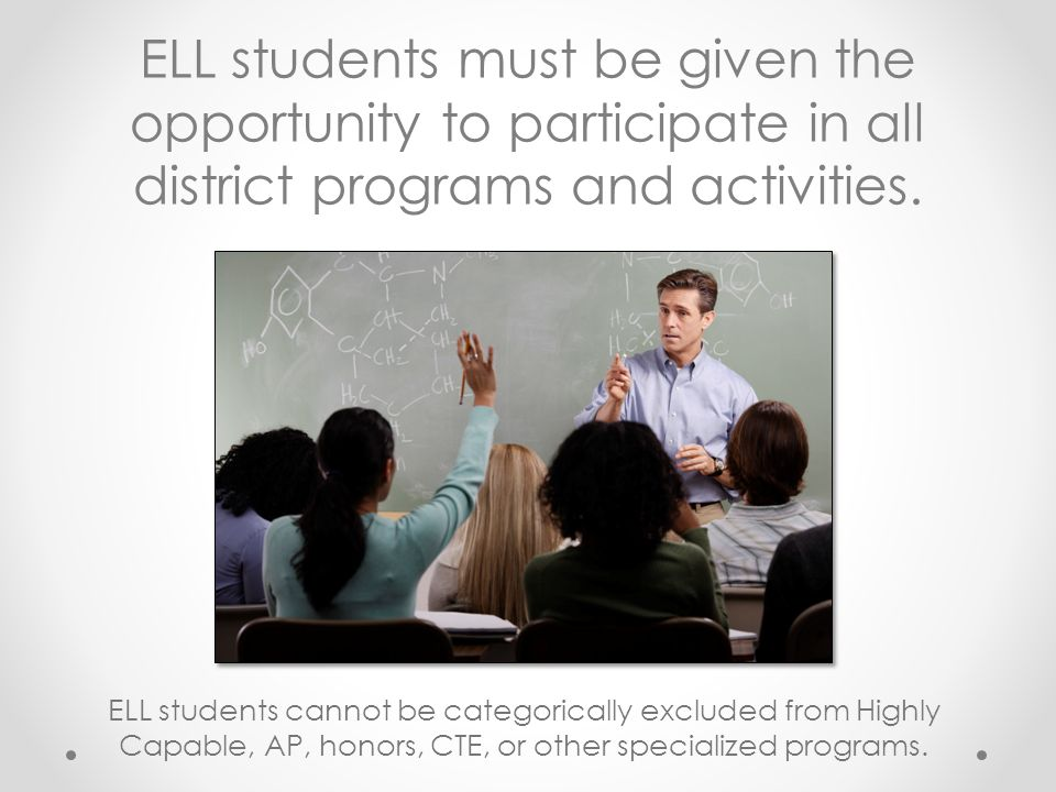 ELL students must be given the opportunity to participate in all district programs and activities.