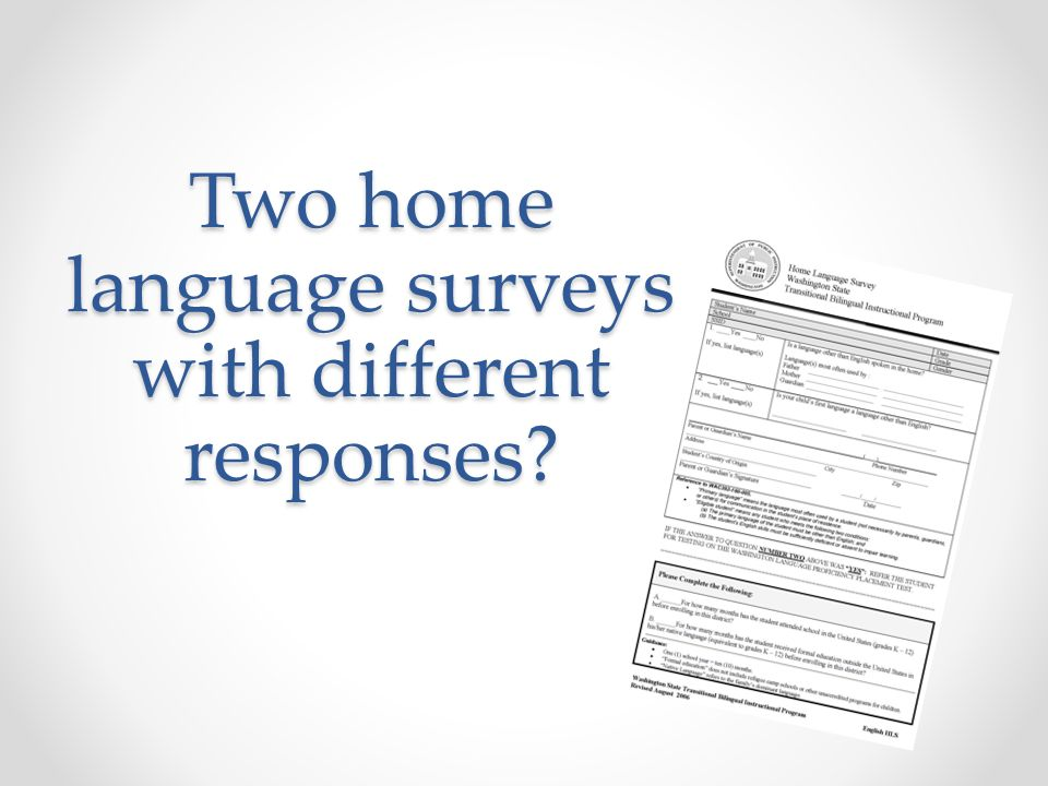 Two home language surveys with different responses