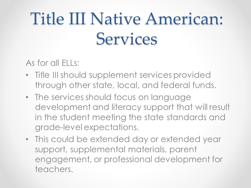 Title III Native American: Services