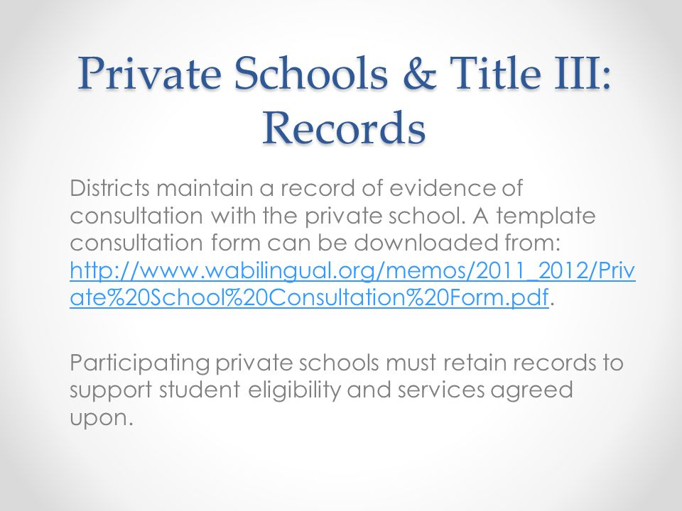 Private Schools & Title III: Records