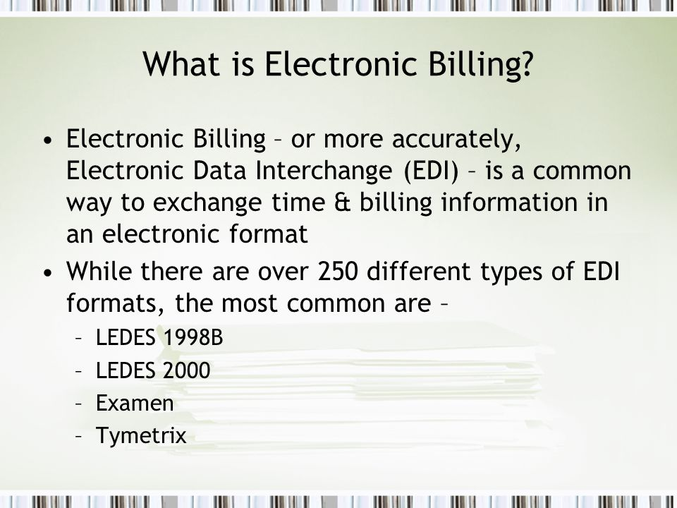 PCLaw Electronic Billing ppt download – Billing Formats