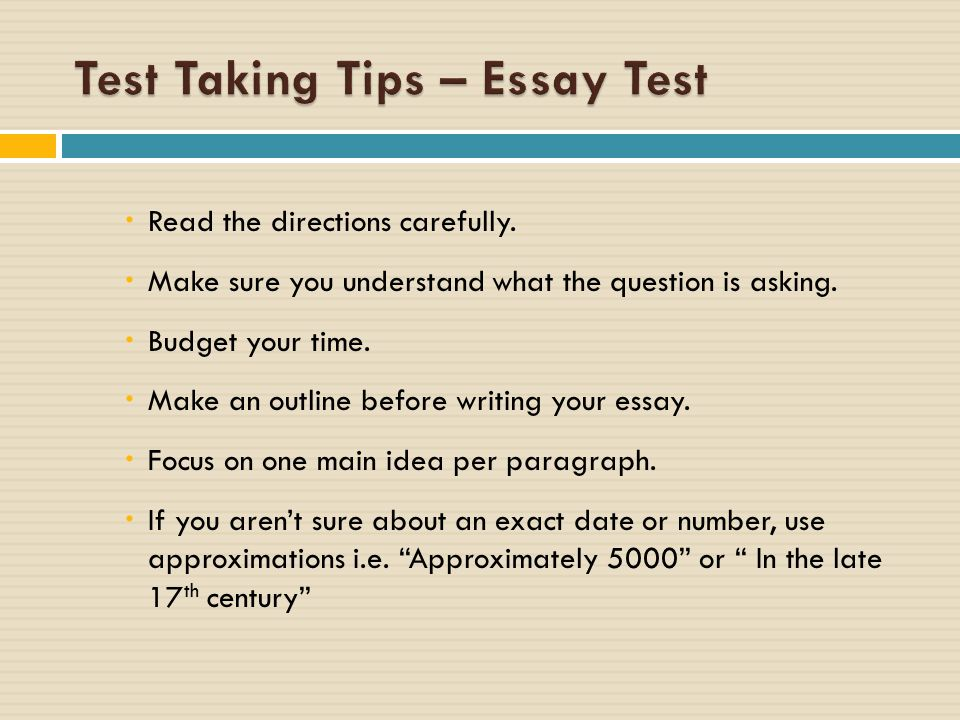 essays on test taking strategies Home / office of academic advising / study skills guide / tips on writing the essay-type examination the following words are commonly found in essay test questions.