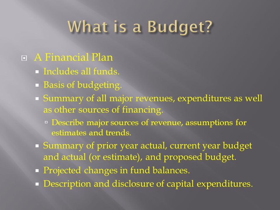 What is a Budget A Financial Plan Includes all funds.
