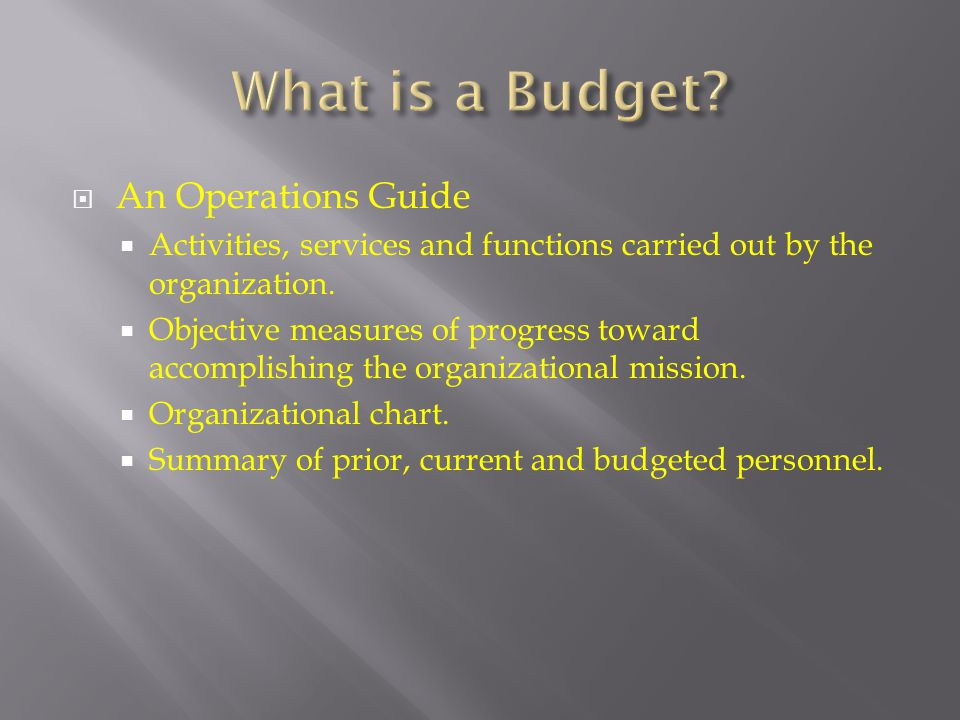 What is a Budget An Operations Guide