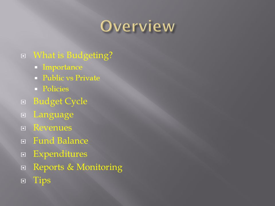 Overview What is Budgeting Budget Cycle Language Revenues
