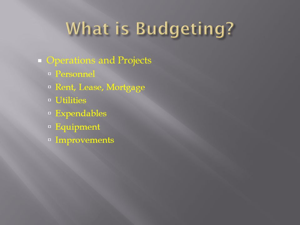 What is Budgeting Operations and Projects Personnel