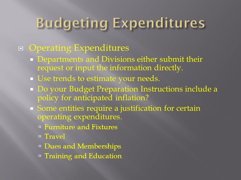 Budgeting Expenditures