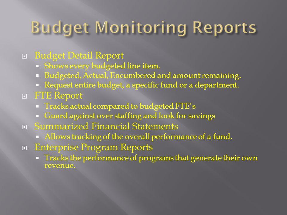 Budget Monitoring Reports