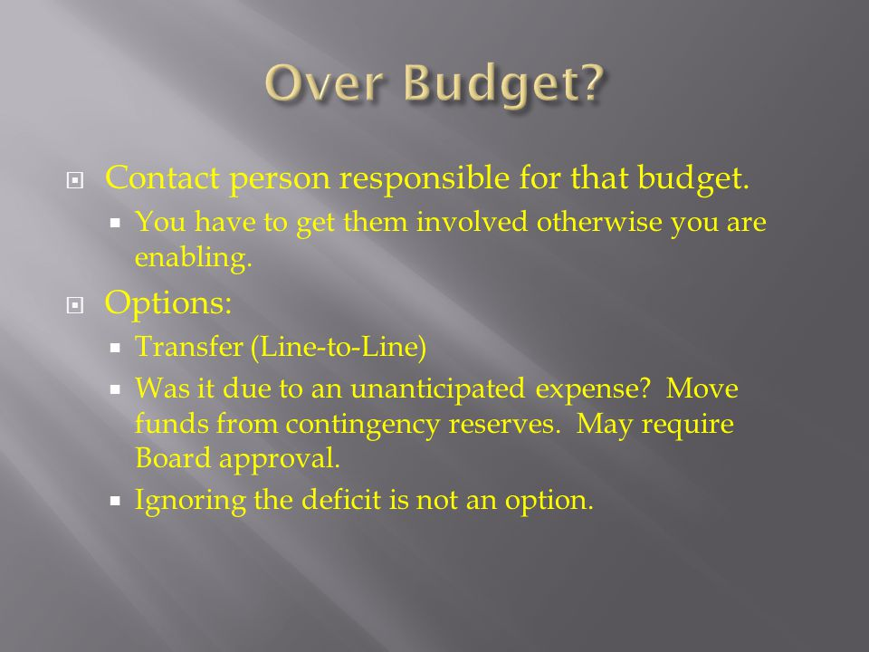 Over Budget Contact person responsible for that budget. Options: