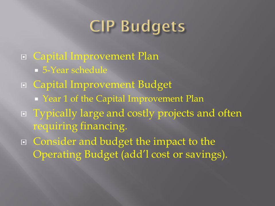 CIP Budgets Capital Improvement Plan Capital Improvement Budget