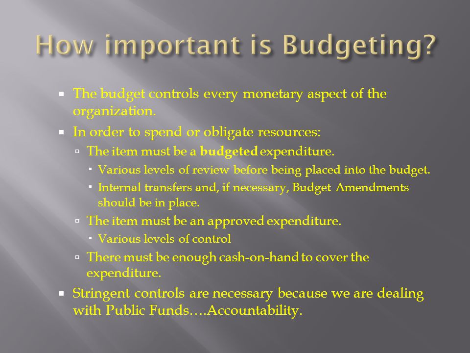 How important is Budgeting