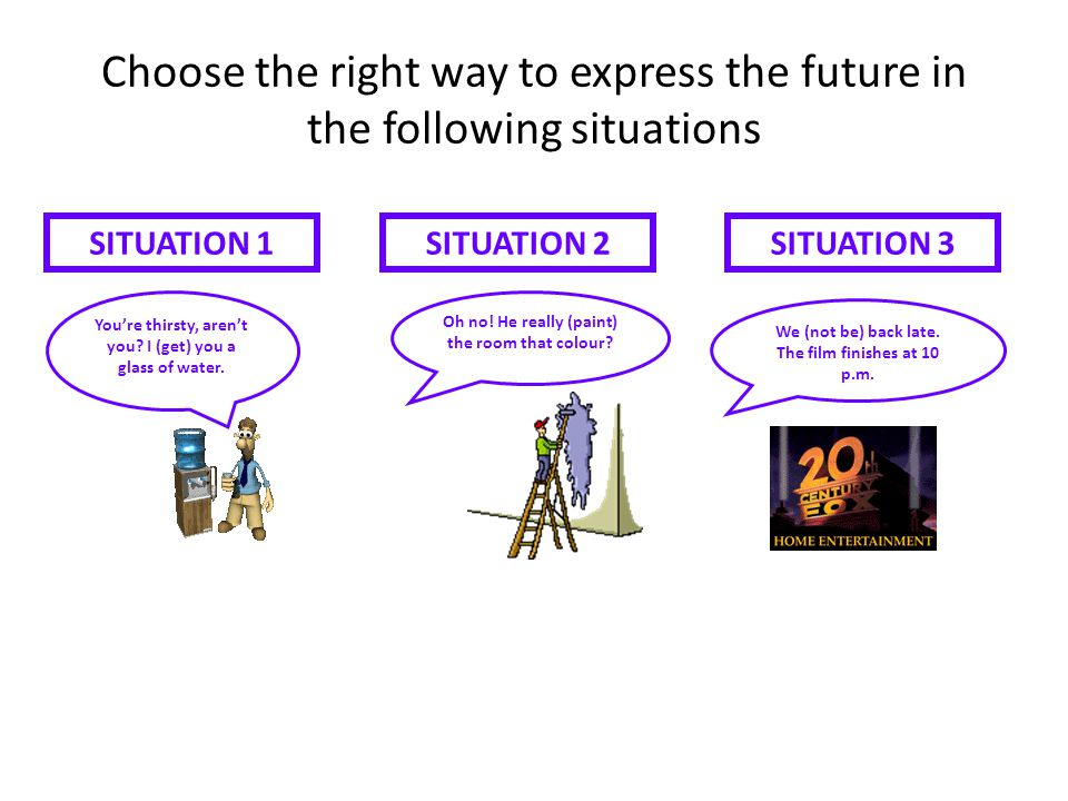 Choose the right way to express the future in the following situations