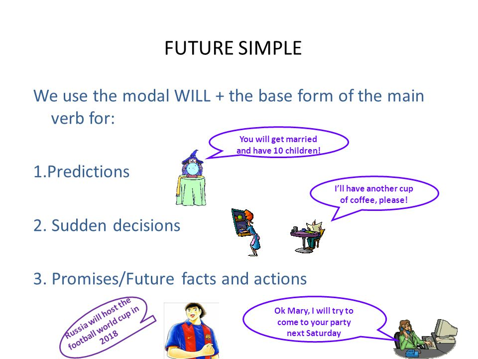 FUTURE SIMPLE We use the modal WILL + the base form of the main verb for: 1.Predictions 2. Sudden decisions 3. Promises/Future facts and actions
