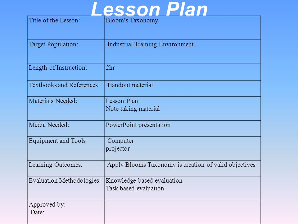 Edu 550 assignment ppt video online download for Bloom taxonomy lesson plan template