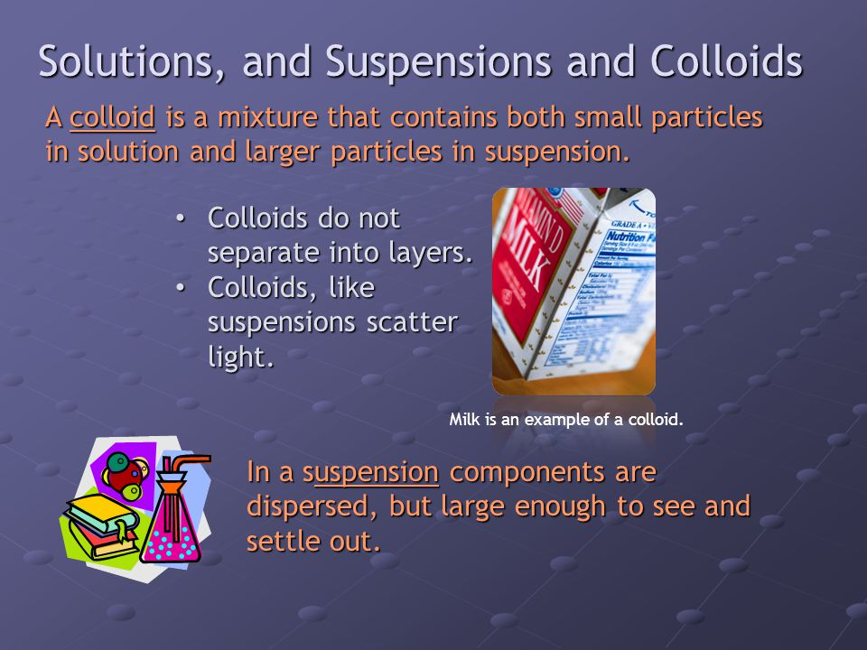Solutions, and Suspensions and Colloids