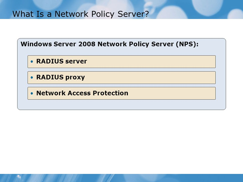 network policy server and remote access essay Cis 401, network server implementation, is designed to teach students how to administer a client/server network infrastructure - cis 401 network server implementation introduction topics included are domain name system (dns), dynamic host configuration protocol (dhcp), remote access, network protocols, ip routing and wins as executed in a .