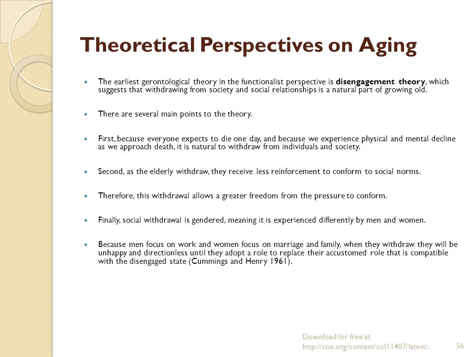 role exit theory of aging The role exit is defined in sociology as the process of disengagement from a role  that is central to one's self-identity in order to establish a new role and identity.