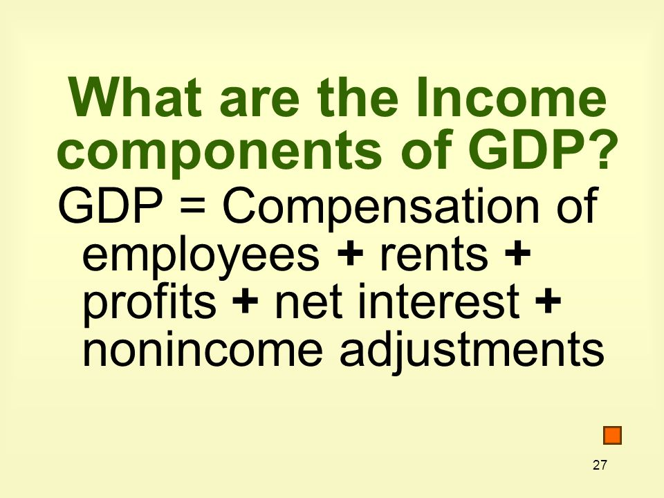 What are the Income components of GDP