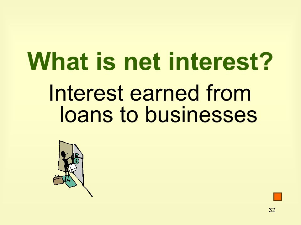 What is net interest Interest earned from loans to businesses