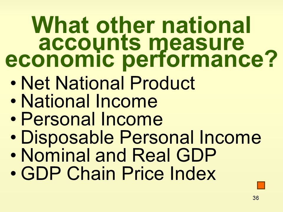 What other national accounts measure economic performance