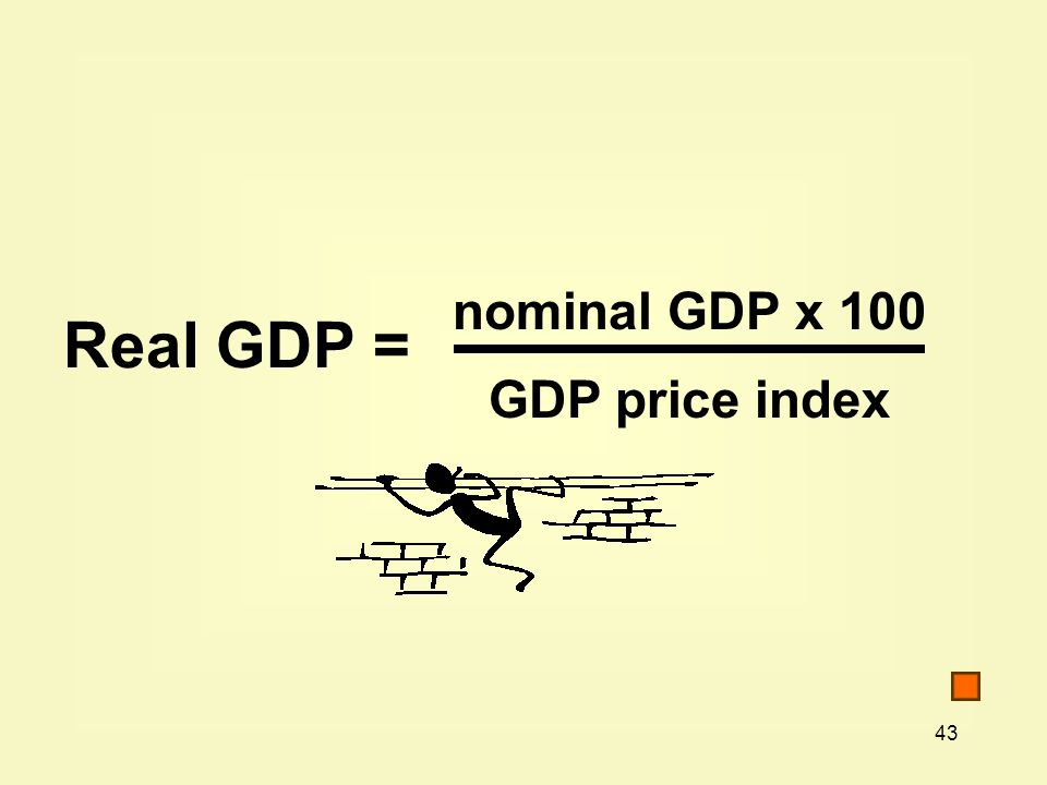 nominal GDP x 100 GDP price index Real GDP =