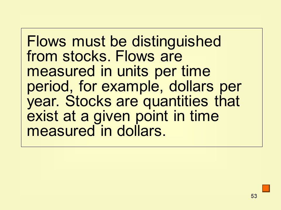 Flows must be distinguished from stocks