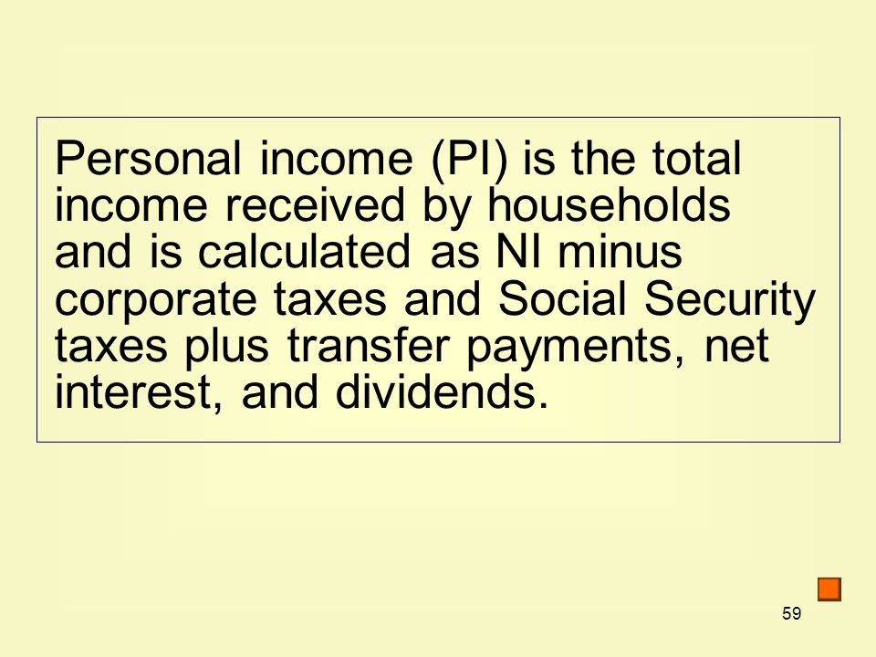 Personal income (PI) is the total income received by households and is calculated as NI minus corporate taxes and Social Security taxes plus transfer payments, net interest, and dividends.