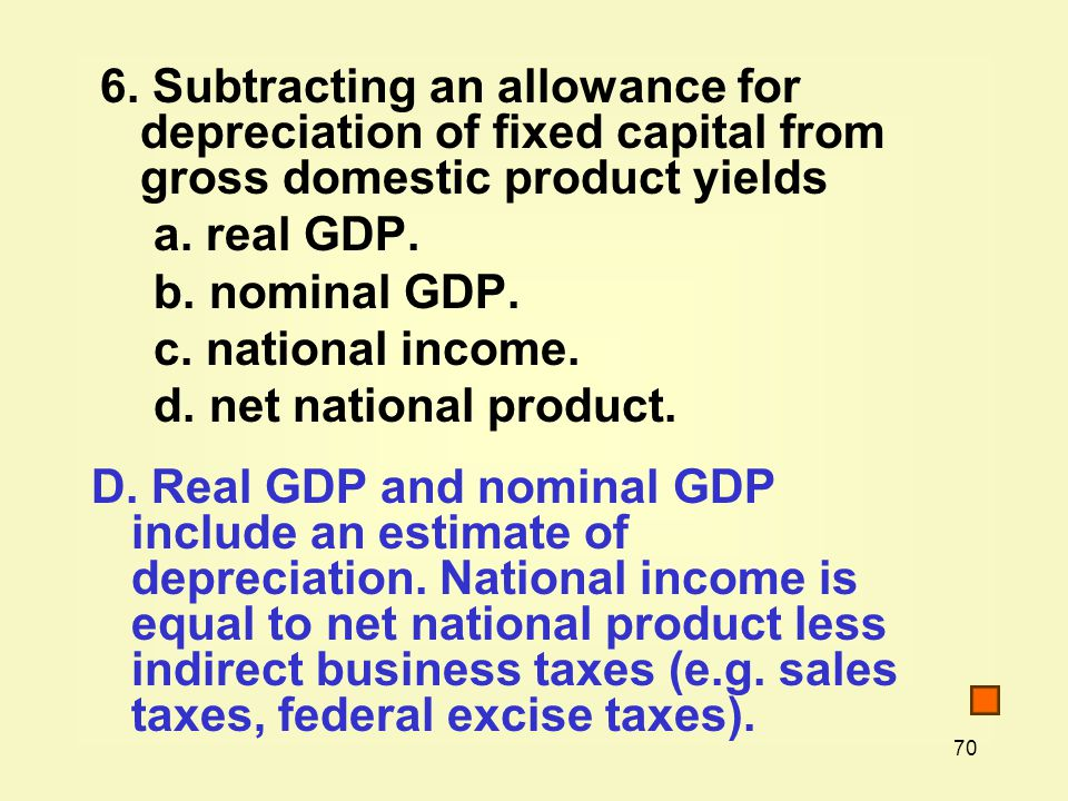 6. Subtracting an allowance for depreciation of fixed capital from gross domestic product yields