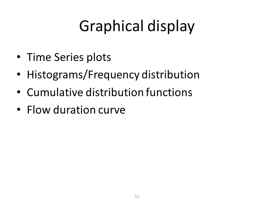 Graphical display Time Series plots Histograms/Frequency distribution