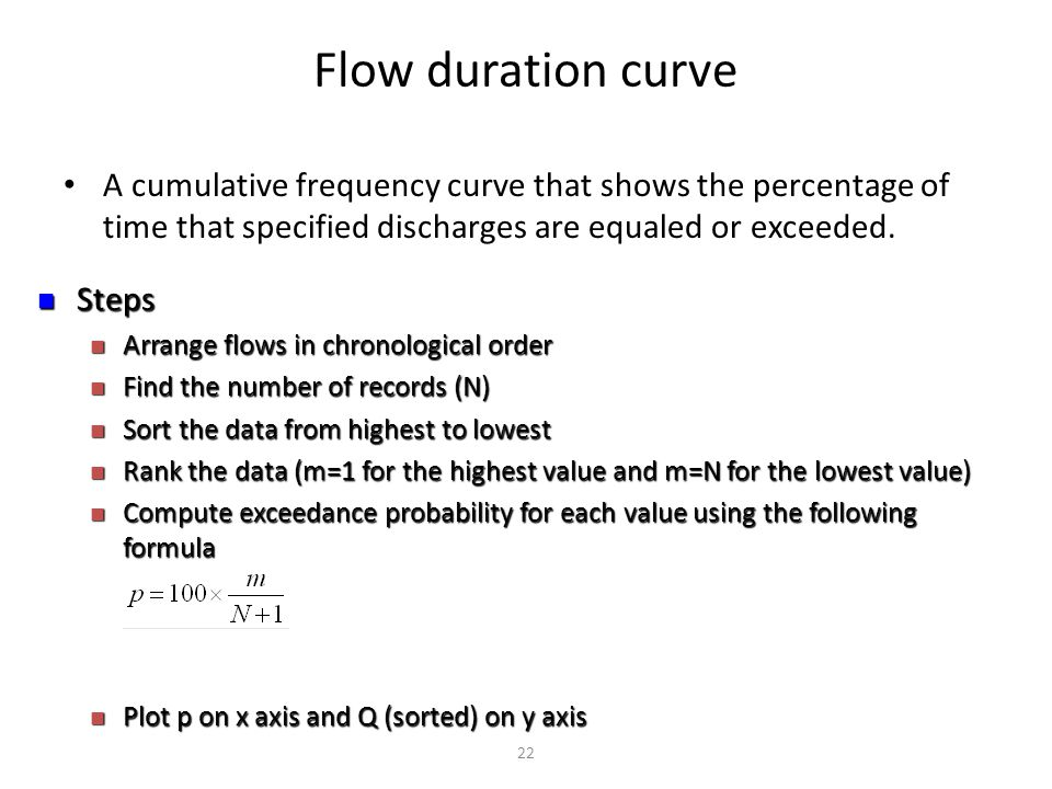 Flow duration curve A cumulative frequency curve that shows the percentage of time that specified discharges are equaled or exceeded.