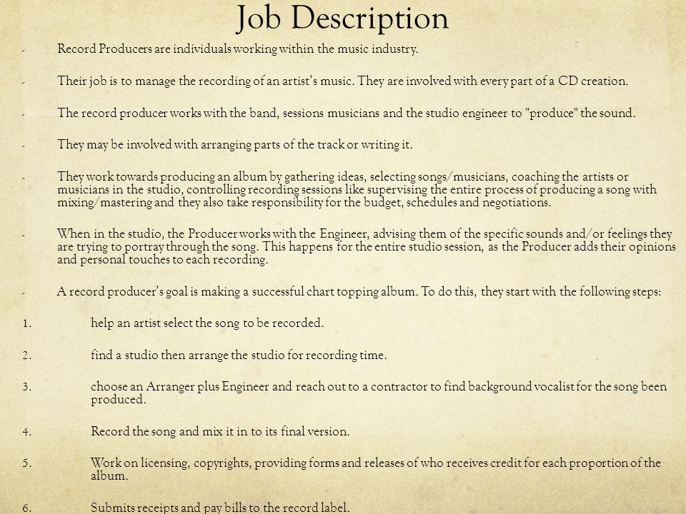 Record Producer By Jessie Xiang ppt download – Recording Engineer Job Description