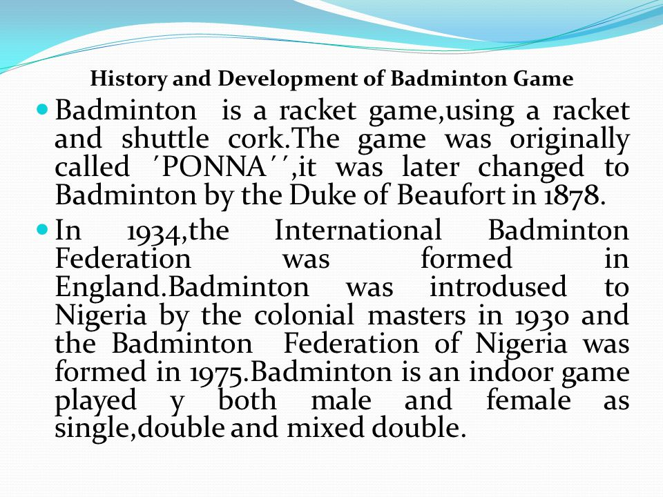 a brief history of badminton The caribbean is not only made up of the islands in the caribbean sea but also of the mainland territories of belize, suriname, guyana, and french guiana the region is marked by diversity some territories are very small, such as st martin, which has a surface area of thirty-seven square miles and.