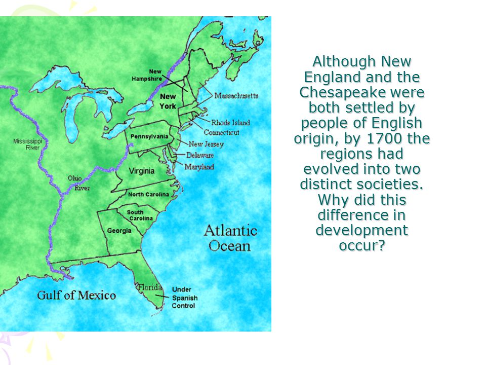 an analysis of english origin in new england and the chesapeake Free essay on the new england and chesapeake colonies in early america although both settled by people of english origin analysis of country of the.