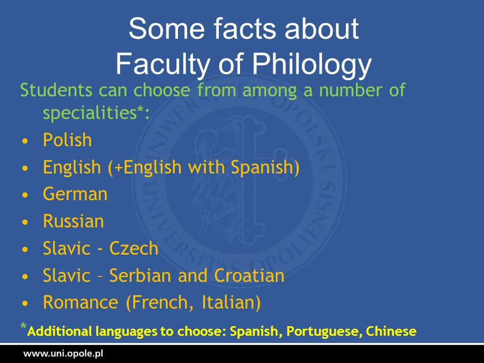 Some facts about Faculty of Philology