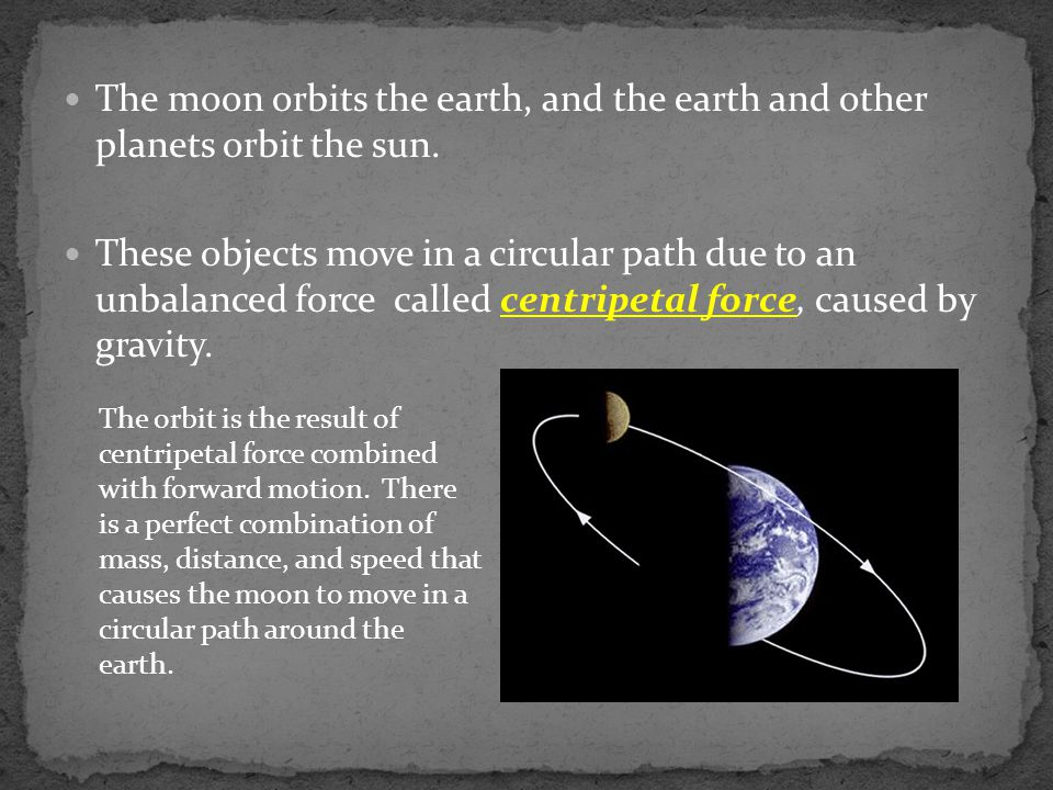 The moon orbits the earth, and the earth and other planets orbit the sun.