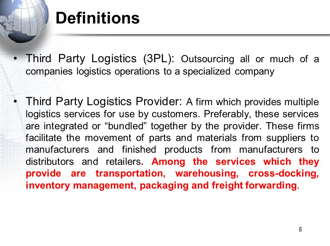 there third party logistics service A third party logistics services agreement is a contract between a contracting party and a third party logistics services provider (3pl), which is a business that takes, holds, and transports consumer goods but does not take ownership of those goods 3pls will provide one or several of these third-party logistics services.