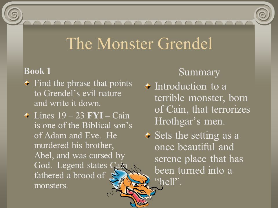 beowulf grendel thesis The beowulf manuscript critical essays major themes in unferth asserts, he surely can't defeat grendel beowulf defends his reputation with such grace and.